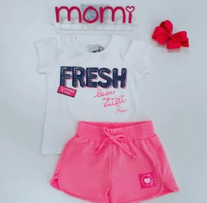 Conjunto Blusa MC Fresh / Shorts Moletom Rosa Neon