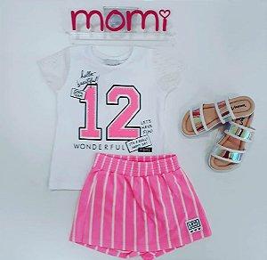 Conjunto Blusa Mc 12 com Shorts Saia Moletom Listrado Rosa Neon