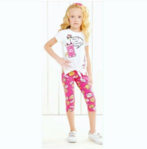 Conjunto Blusa mc Hey com legging Pink Estampada