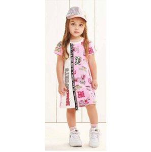Vestido Bichos Esportistas Rosa Neon