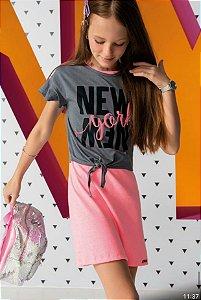 Vestido Regata Rosa Neon com Sobreposição New York