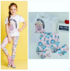Conjunto Blusa MC Get Pop Corn/ Legging Estampada