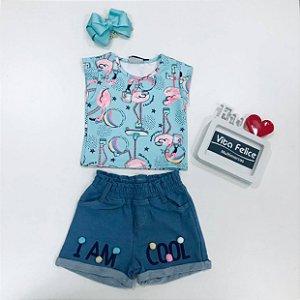 Conjunto Blusa Mc Flamingo com Shorts Moletom com elastano