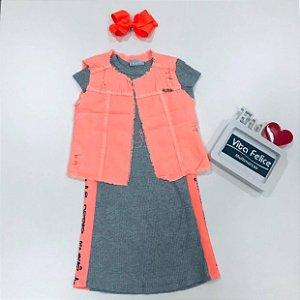 Vestido Canelado com faixa lateral e Colete Sarja laranja