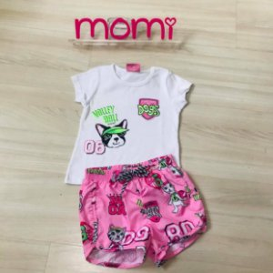 Conjunto Blusa mc Dogs com shorts tactel estampado