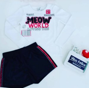 CONJUNTO BLUSA ML MEOW/SHORTS COURINO