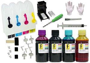 Kit Bulk Ink HP P/ Impressoras + Snap Fill + Verruma + 400ml Tintas (100ml de cada cor) 92 93 21 22 122 664 662 901 60 XL HP 2546 1516 3516 2136 1115 2576 3775 3776 5775