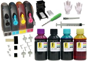 Kit Bulk Ink HP P/ Impressoras + Snap Fill + Verruma + 400ml Tintas (100ml de cada cor) 92 93 21 22 122 664 60 XL HP 2546 1516 3516