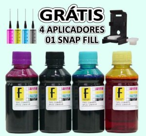 Kit 1 Litro de Tinta Recarga Cartucho 664 60 122 21 22 92 93 664 27 28 57 Hp 2136 3636 3836 + Snap Fill 250ml de cada cor