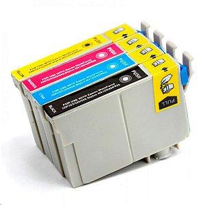 Kit 4 Cartuchos P/ Impressora Epson T23 T24 Tx105 Tx115 4 Cores de Tinta TX 115 105 T 23 24 T117 732N 733 734