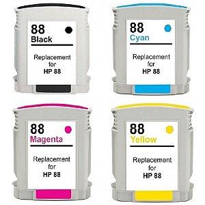 Kit 4 Cartuchos para Impressora HP Tinta 88xl K550 K8600 K5400 Compatível Novo 88 Xl K 550 8600 5400 Com Chip Preto e Coloridos