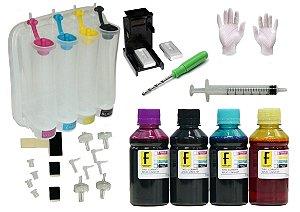 Kit Bulk Ink Modelo Tanque + 400ml de Tintas para Impressoras e Cartuchos HP Canon Lexmark