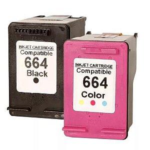 Cartucho de Tinta para Impressora 664xl Preto ou Color Impressora 1115 2136 2676 3635 3636 664 XL Black ou Colorido Microjet compatível com HP