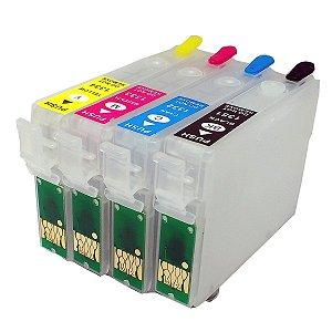 Kit 4 Cartucho Recarregavel Para Impressora Epson T25 Tx125 Tx123 Tx133 Tx135 S/ Tintas