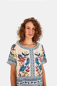 T-shirt Floral Padang Lenço Farm