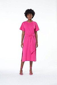 Vestido T-shirt Midi Com Amarração Rosa Animale