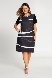 Vestido Estampado Plus Size Preto Lunender