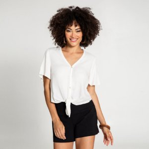 Camisa Tecido Rayon Branco Off Lunender