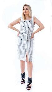 Vestido Mídi com Cinto Tecido Rustique Lez a Lez