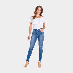 Calça Jeans com Elastano Puído Lunender