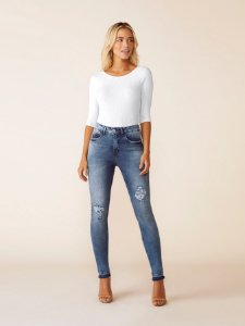 Calça Skinny com Elastano Jeans Médio Lunender