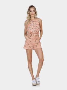 Shorts Miami Sarja com Bordado Rosa Apricot  Lez a Lez