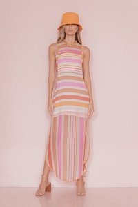 Vestido Midi Open Color Stripes Open