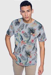 Camiseta Masculina Floral Cinza