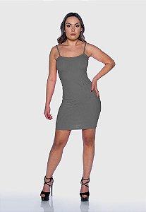 Vestido Feminino Canelado Alcinha Cinza Mescla