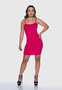 Vestido Feminino Canelado Alcinha Rosa Pink