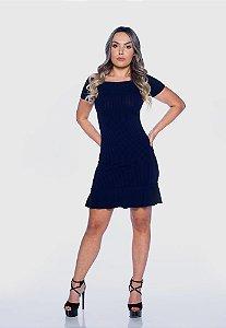 Vestido Feminino Canelado Babado Azul Marinho