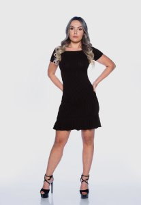 Vestido Feminino Canelado Babado Preto