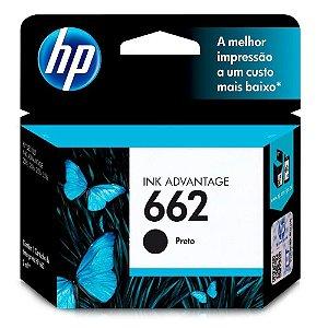 Cartucho de Tinta HP 662, Preto - CZ103AB