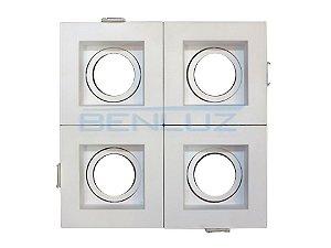 Spot Recuado Quádruplo Branco Para Mini Dicroica MR11 LED Medidas 14x14cm (Sem Lâmpadas)