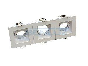 Spot Recuado Triplo Branco Para Mini Dicroica MR11 LED Medidas 07x21cm (Sem Lâmpada)