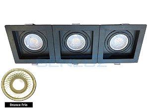 Spot Recuado Triplo Preto Para Dicroica MR16 LED Medidas 30x10cm Branco Frio
