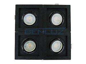 Spot Recuado quádruplo Preto Para Dicroica MR16 LED Medidas 20x20cm Branco Frio