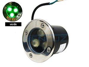 Luminária de chão Balizador de embutir LED 3W verde a Prova d' água