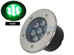 Luminária de chão Balizador de embutir LED 7W verde a Prova d' água