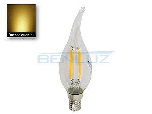Lâmpada LED vela de Chama filamento 4W Branco quente 2700K