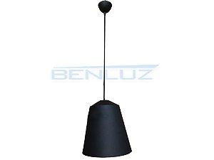 Luminária Pendente cone Preto Fosco 102x42x37cm E27 Bivolt