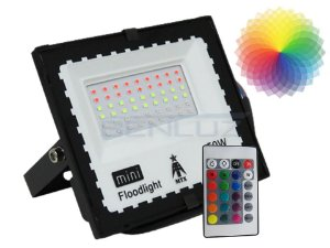 Refletor Holofote de LED 50W RGB Com Memoria de Cores e Controle A Prova d'água