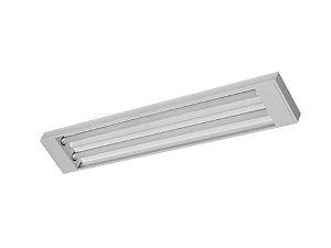 Luminária Comercial 2x32W de sobrepor sem aletas Tradicional