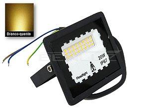 Mini Refletor Holofote LED 20W Branco Quente 3000K