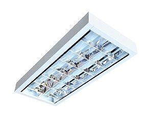 Luminária Comercial 2x16W de Sobrepor com 6 Aletas
