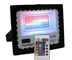 MINI REFLETOR HOLOFOTE LED 30W RGB COM CONTROLE IP67