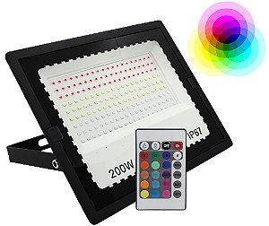 REFLETOR HOLOFOTE LED 200W RGB COM CONTROLE IP67