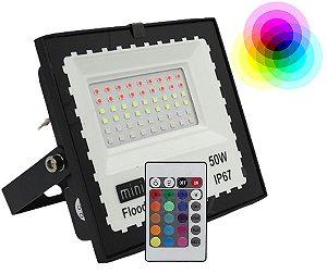 REFLETOR HOLOFOTE LED 50W RGB COM CONTROLE IP67