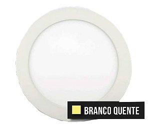 Painel Plafon Downlight Led Slim Redondo 15W Branco Quente Bivolt