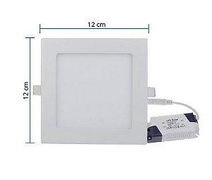Painel Led Plafon Quadrado de Embutir Slim 6W Bivolt